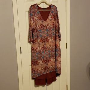 Isabel + Alice High Low Red Print Dress